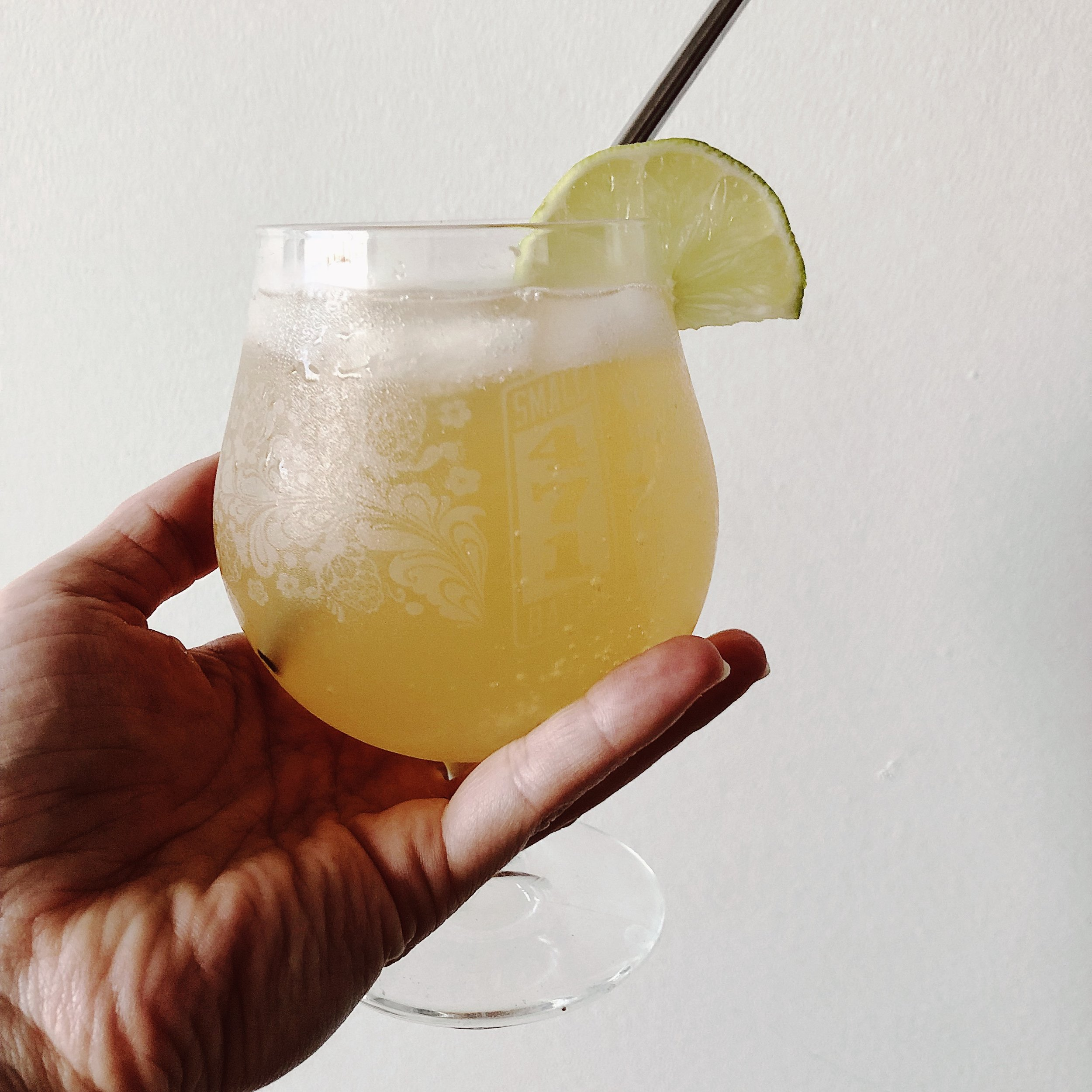 mocktail - ingredients:- kombucha (homemade or store-bought)- sparkling water- lime