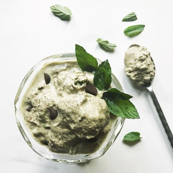 matcha mint chocolate chip ice cream - plant based, of course!