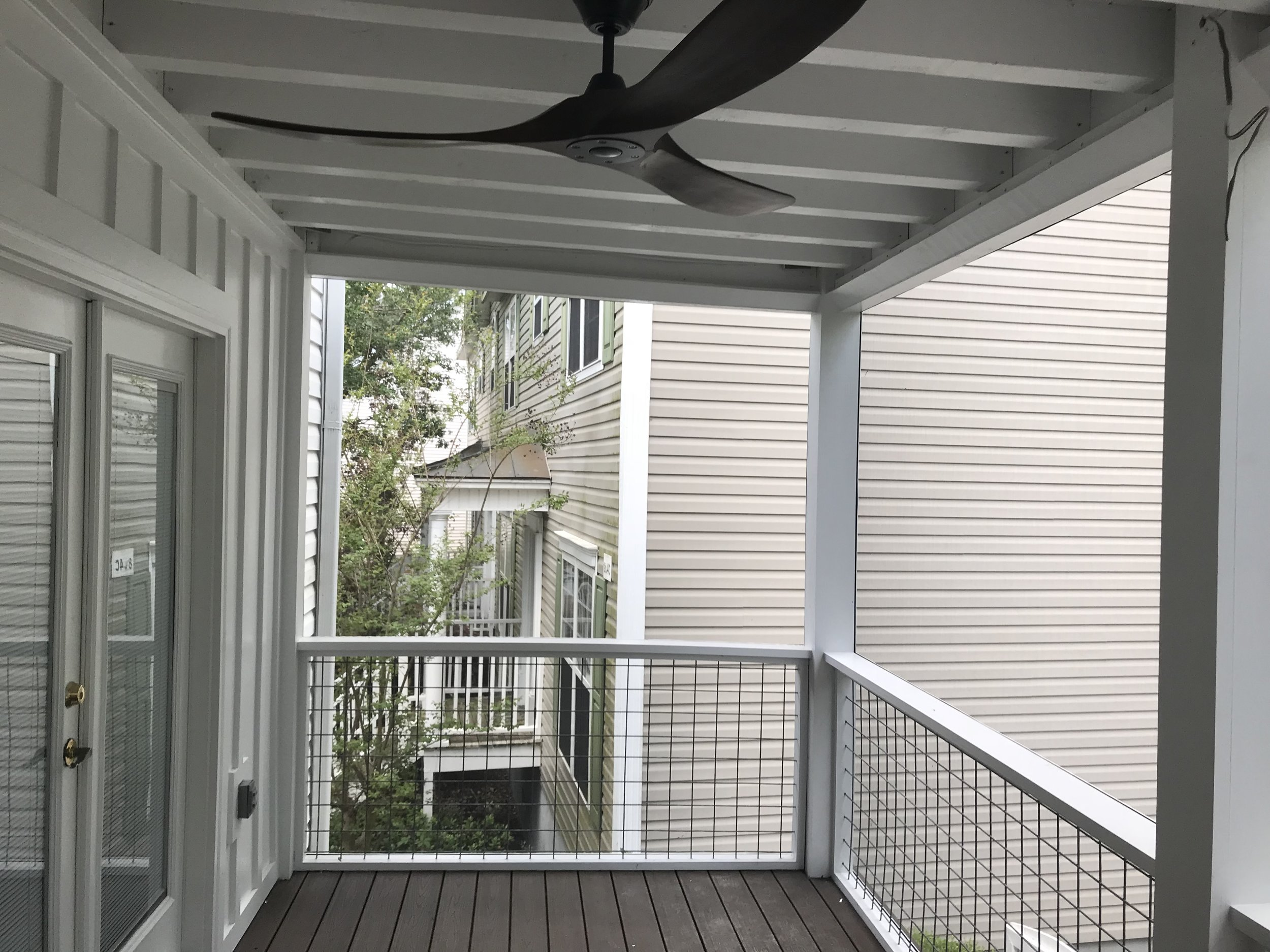 Screen Porch Addition with Hogwire Handrails- James Island, South Carolina