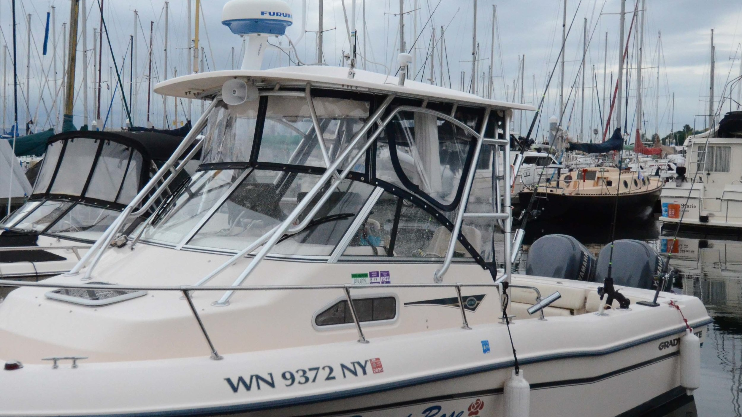 Desert Rose   is a premium Grady White Gulf Stream 232 with a wide beam providing great stability. The twin 200hp Yamaha 4 stroke engines are safe and powerful.