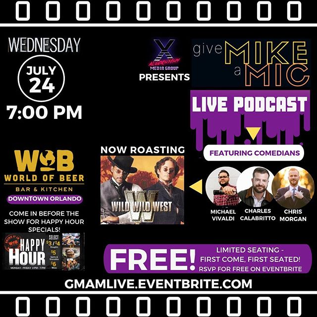 "This Wednesday, come on out to a LIVE recording of ""Give Mike A Mic"" as a slew local standup comedians help you remember that not all Will Smith movies are created equal & they take shots at ""Wild Wild West."" Tickets are FREE, but space is on a first come, first seated so arrive early!  Tickets are still available at GMaMLive.eventbrite.com. Grab yours today! . . #GiveMikeAMic #live #podcast #livepodcast #movies #film #roast #wildwildwest #willsmith #orlando #comedy #standupcomedy #funny #wob #beer #wine #happyhour #orlando #downtownorlando #bestoforlando #orlandocomedy #shows #freeshow #free #freelaughs #podcasters #podcasting #centralflorida"