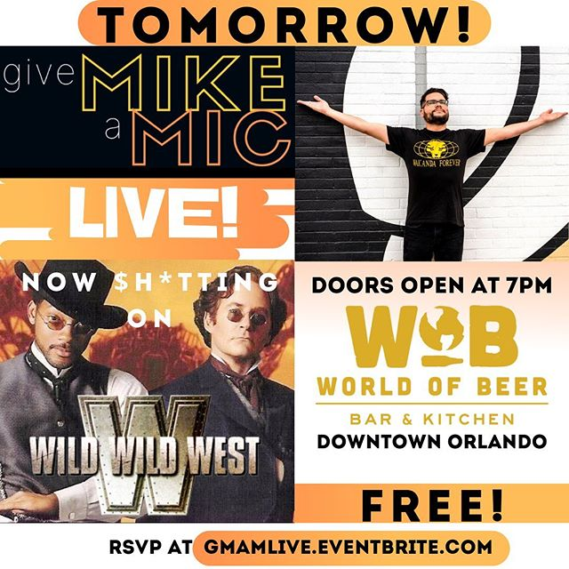 You still have time to get your free tickets to tomorrow's show! Make sure to share & invite your friends and enemies alike 👍🏼 . . #GiveMikeAMike #podcast #livepodcast #comedy #standupcomedy #comedians #freeshow #freelaughs #downtownorlando #worldofbeer #orlando #centralflorida #happyhour #funny #wildwildwest #roasted #roast #willsmith #kevinkline #salmahayek #movies #awful #bestoforlando #winterpark