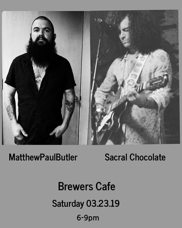Come check us out THIS SATURDAY at @brewerscafe in Richmond! If you've never had the pleasure of hearing @matthewpaulbutler, don't miss this chance! ~ ~ ~ #rvamusic #originalmusic #richmond #sacralchocolate #matthewpaulbutler #musicforthesoul #originalartist