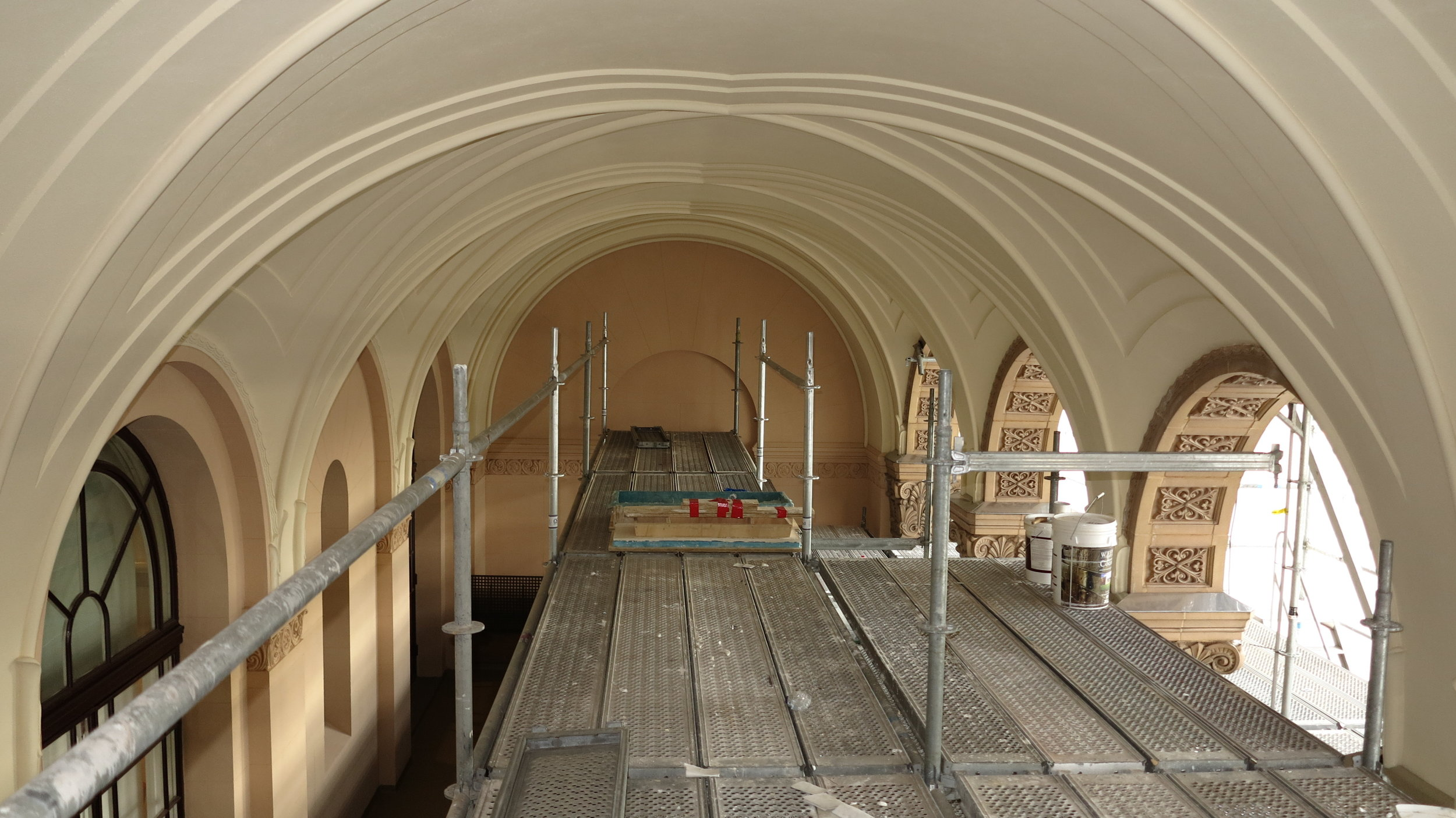 Conservation works to ceiling of loggia