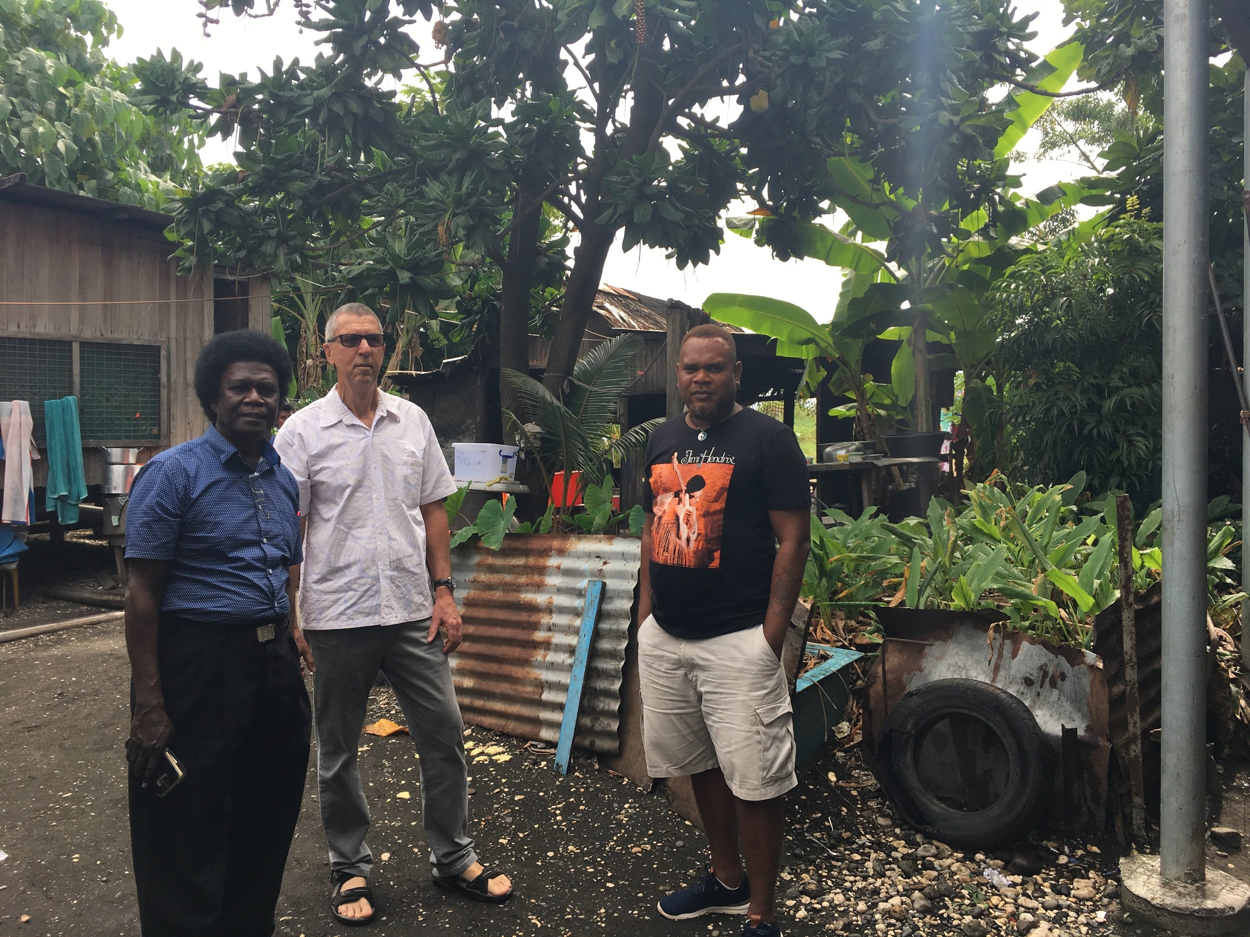 Charles Kelly, City Clerk Honiara, Steve Gawler, RD ICLEI and Nelson Anaia, Provincial Disaster Officer, visiting the Ontong Java fishing village - one of the most vulnerable settlements along the coast.