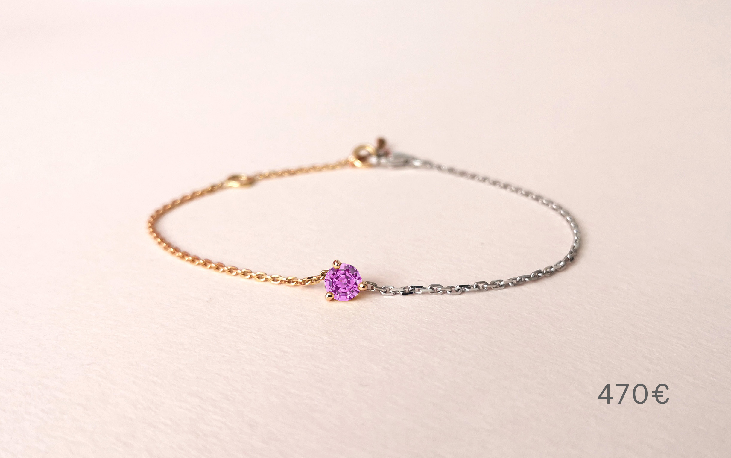 Bracelet Douce Echappée saphir rose, Collection Weekends Express - Courpré Joaillerie - The Explorative Fine Jewelry