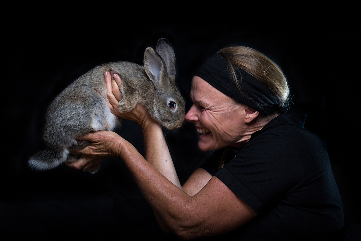 Kirsko Film Animals Kirstin Feddersen and Rabbit 800pxh.jpg