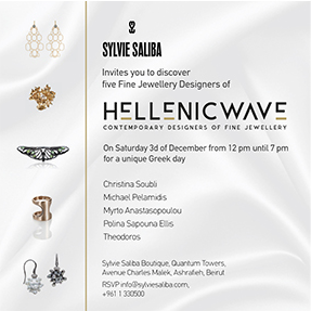 H.W. in Beirut, December 2016 - The prominent Lebanese joaillerie of Sylvie Saliba, hosted a trunk show for Hellenic Wave designers in December 2016.