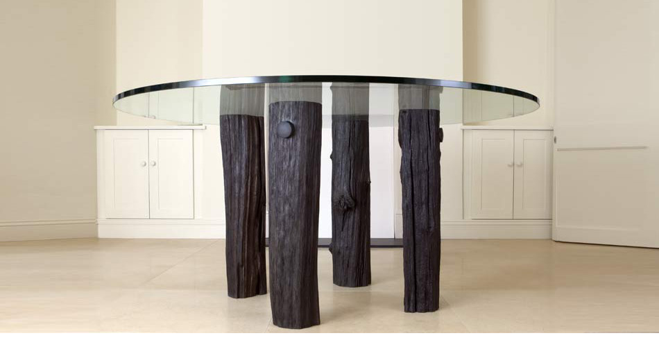 Bog oak and Glass Table