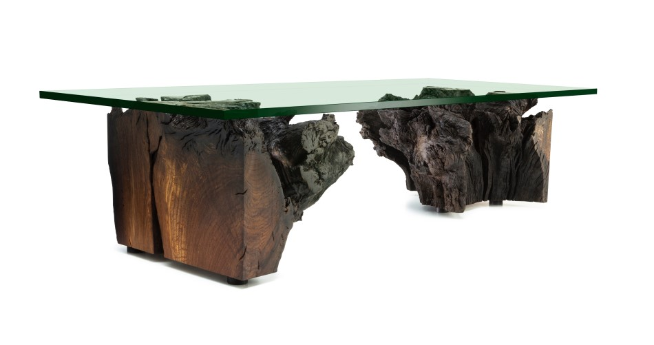 Prehistoric Bog Oak Root Low Table, with Glass