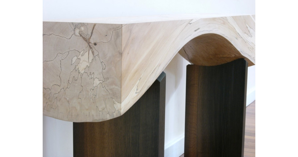 Spalted Beech and Bog Oak Natural Arch Console Table