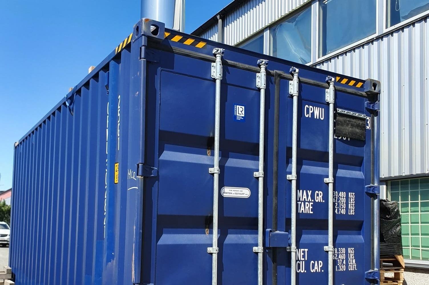 Clean Burn Panncentral Portabel Container - För temporära lösningar, t.ex. byggarbetsplatser.