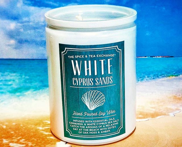 Keep the smell of summer going all year long with this White Cypress Sands soy candle from @spiceandtea.alexandria🏖 . . . . #shopOTBD #lovelocalOT #extraordinaryALX #womanowned #soycandle #artisancandles #beachcandle