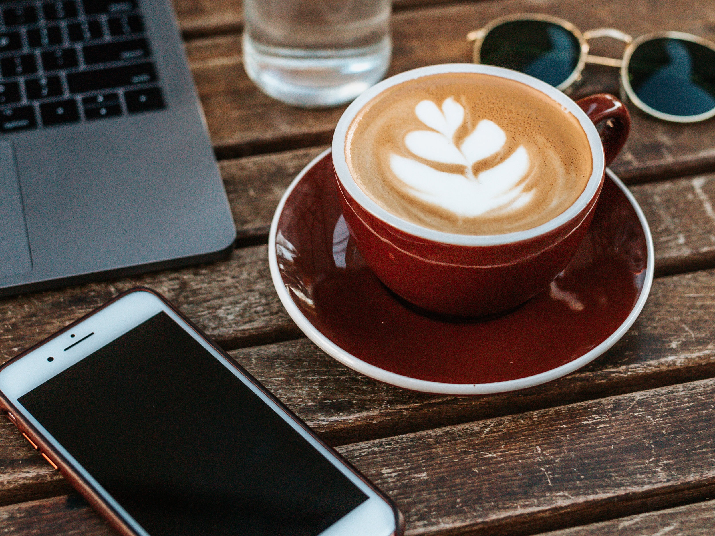 iphone coffee macbook sunglasses cafe