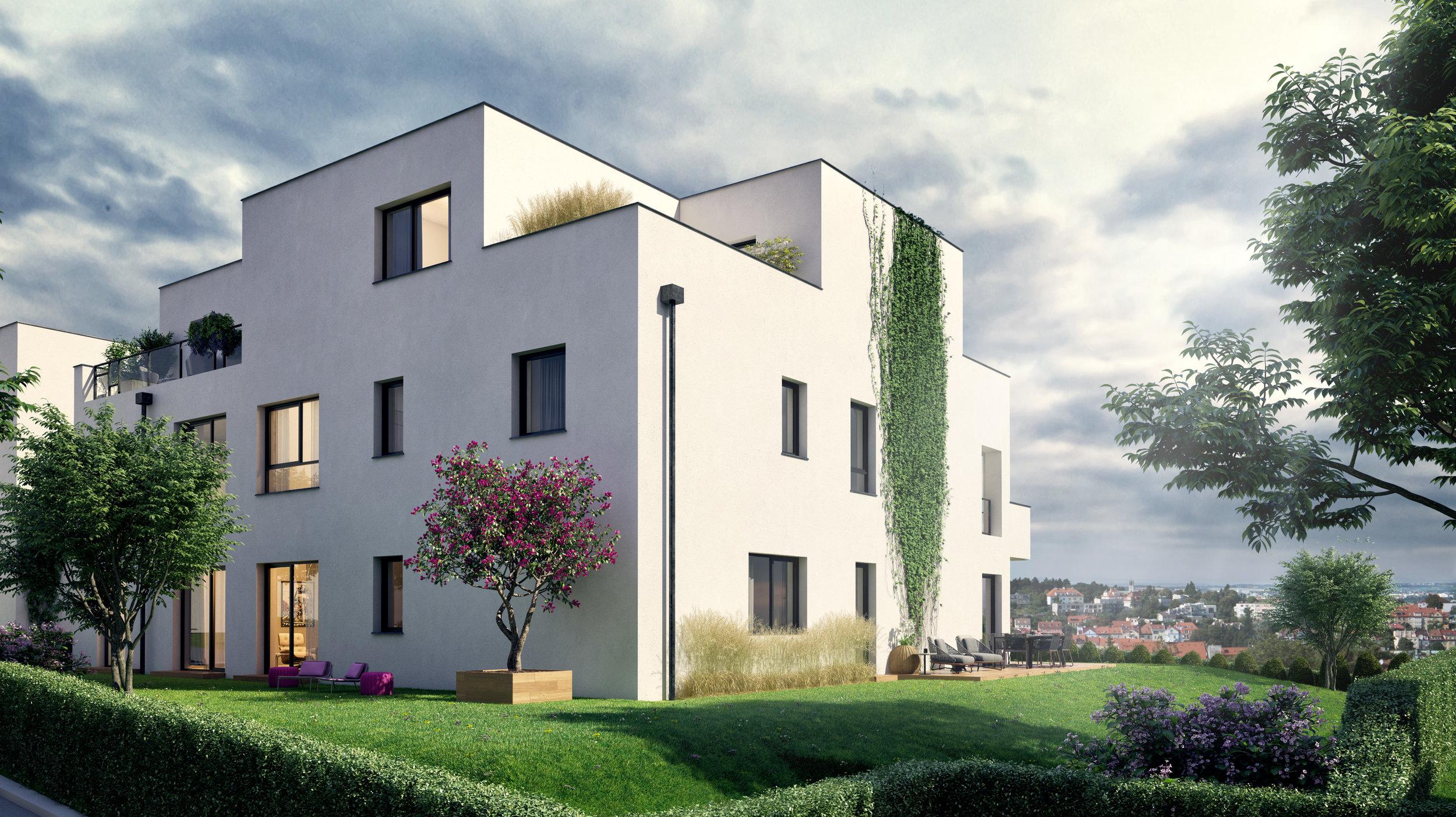 Bydlení na úrovni - Na výjimečné atmosféře bytu mají vedle lokality zásluhu i vysoké standardy provedení. Vysoké stropy a velká okna dají vašemu domovu vzdušnost a prostor, dva velké balkony ho volně propojí s udržovanou zelení kolem domu. V mimořádné kvalitě je také veškeré vybavení od dřevěných podlah po designové zařízení koupelen.