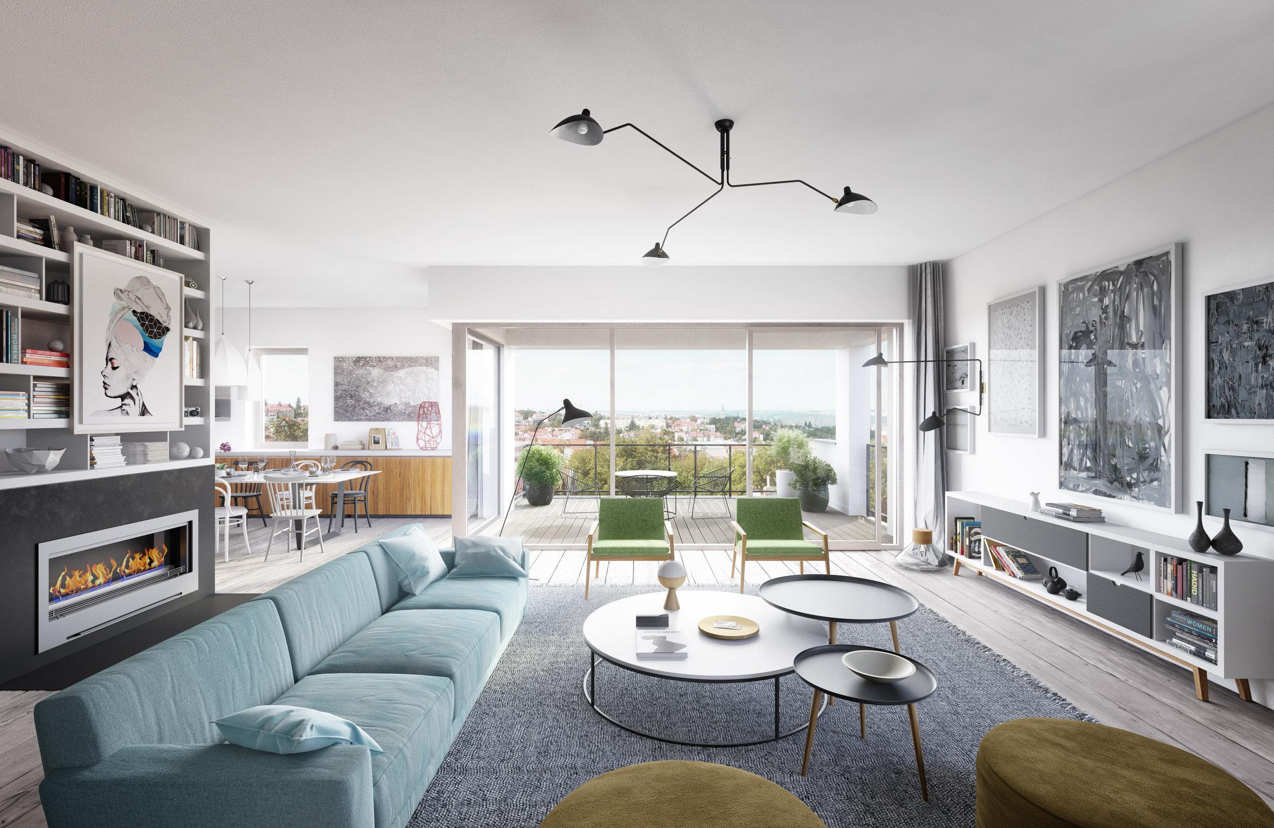 Dispozice bytu - Byt o celkové výměře 221,7 m² a dispozici 5+kk se dvěma balkony (celkem 28 m²) se nachází v prvním patře nového viladomu situovaného v moderním rezidenčním areálu La Crone v ulici Nad Tejnkou. K bytu lze přikoupit také nadstandardně široká podzemní parkovací stání i dostatečně prostorný sklep.