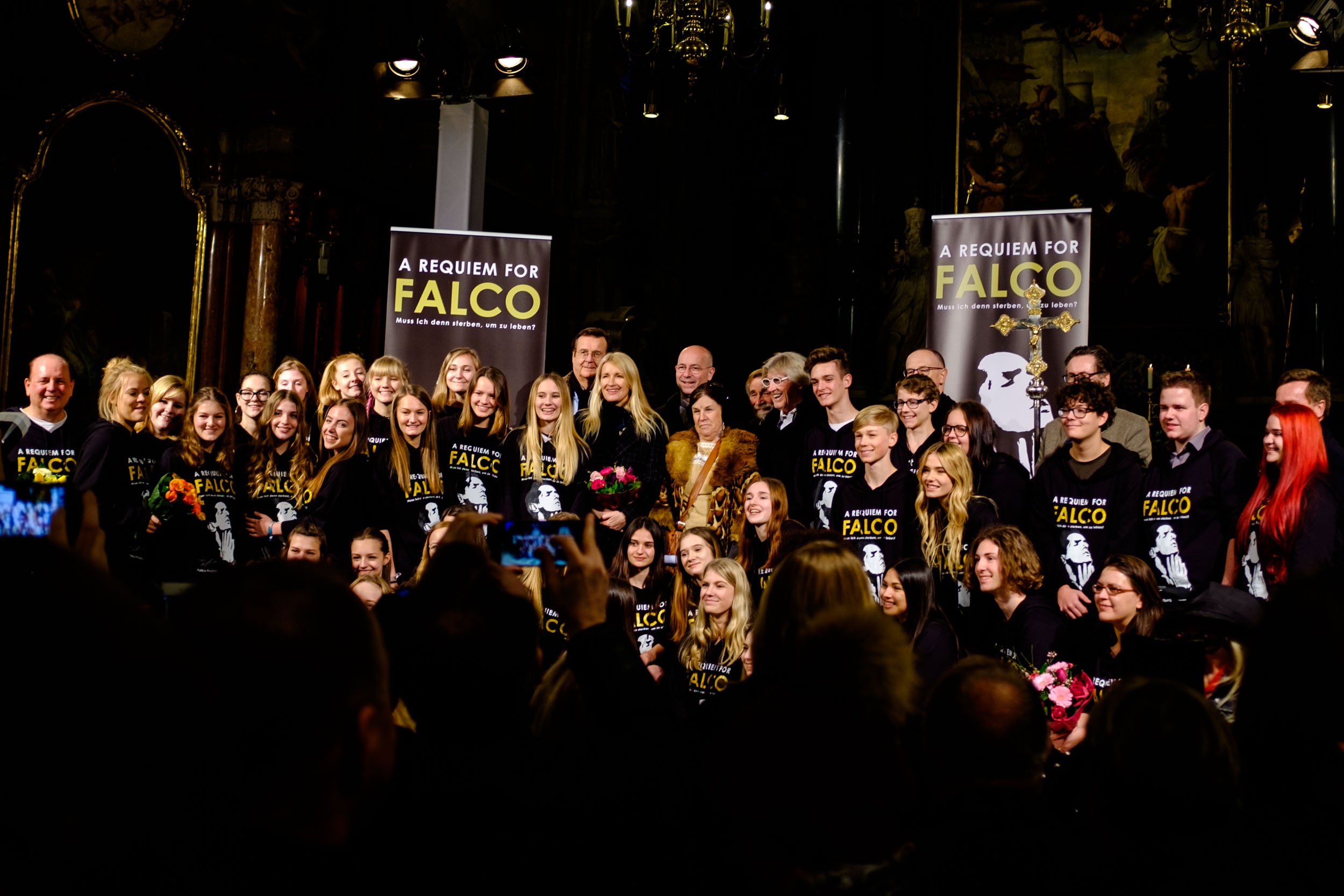 The performers of the A Requiem for Falco concert, which had included members of Opus, who sang 'Flyin' High', the song they've previously performed with Falco