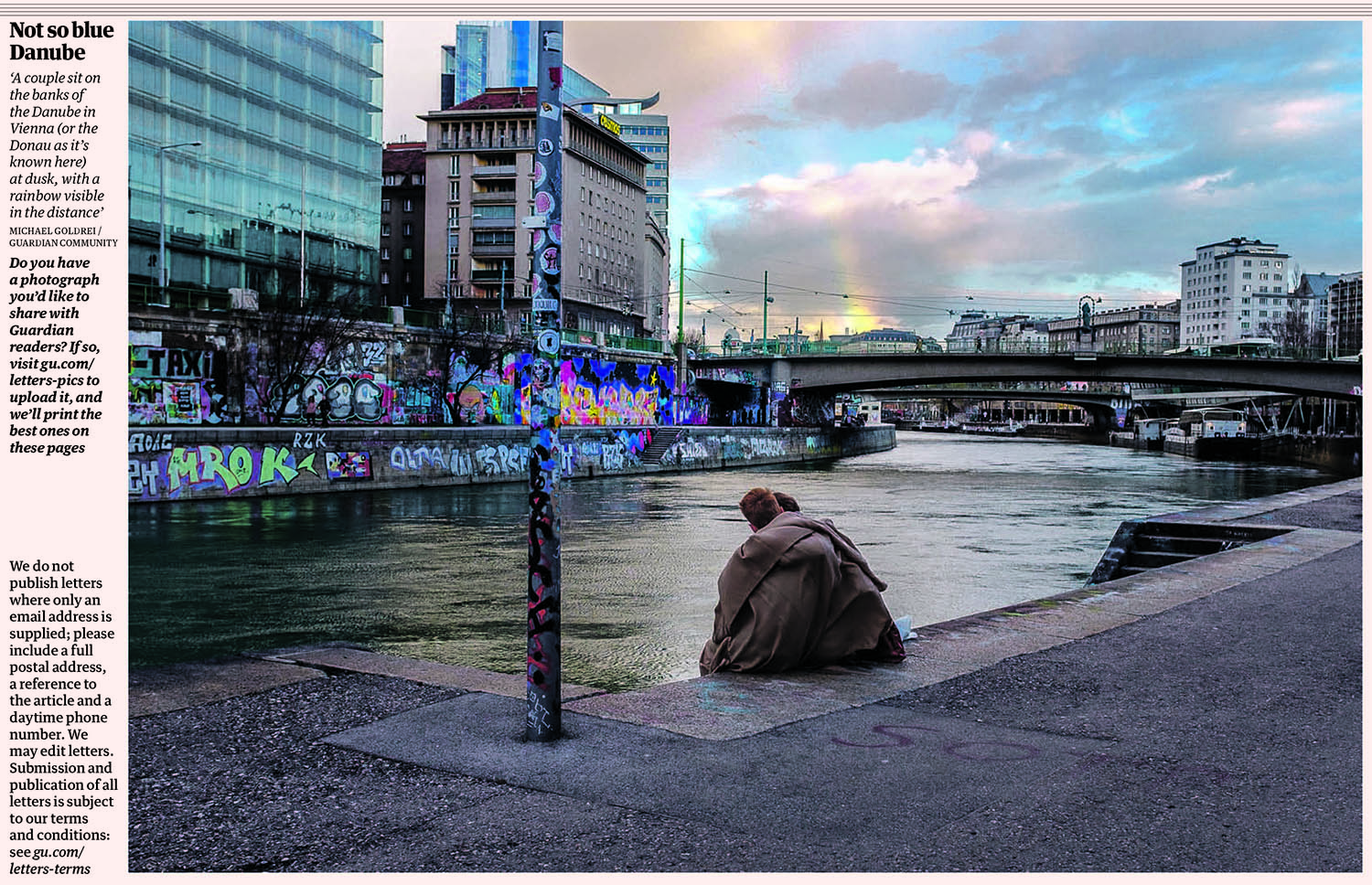 The Guardian - On Mar 11 2019 my photo 'Rainbow's End', taken along the banks of the Donau (aka the Danube) in Vienna, was featured on the letters page in The Guardian.