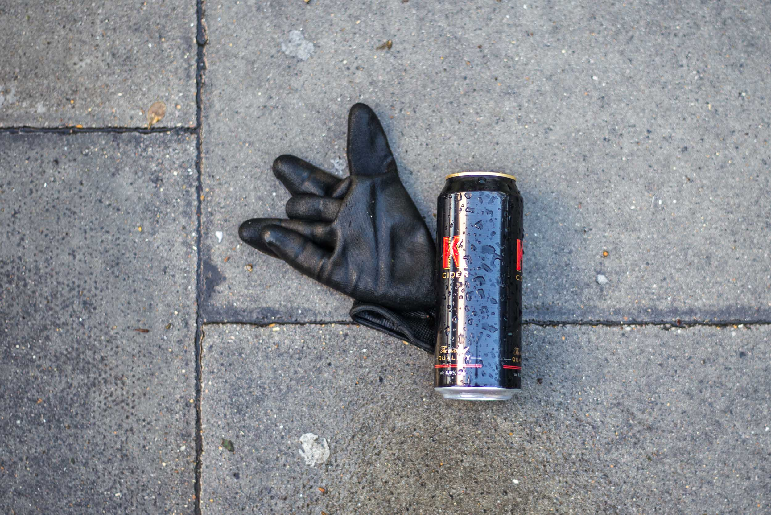 Leather Glove and Cider Can. London 2017