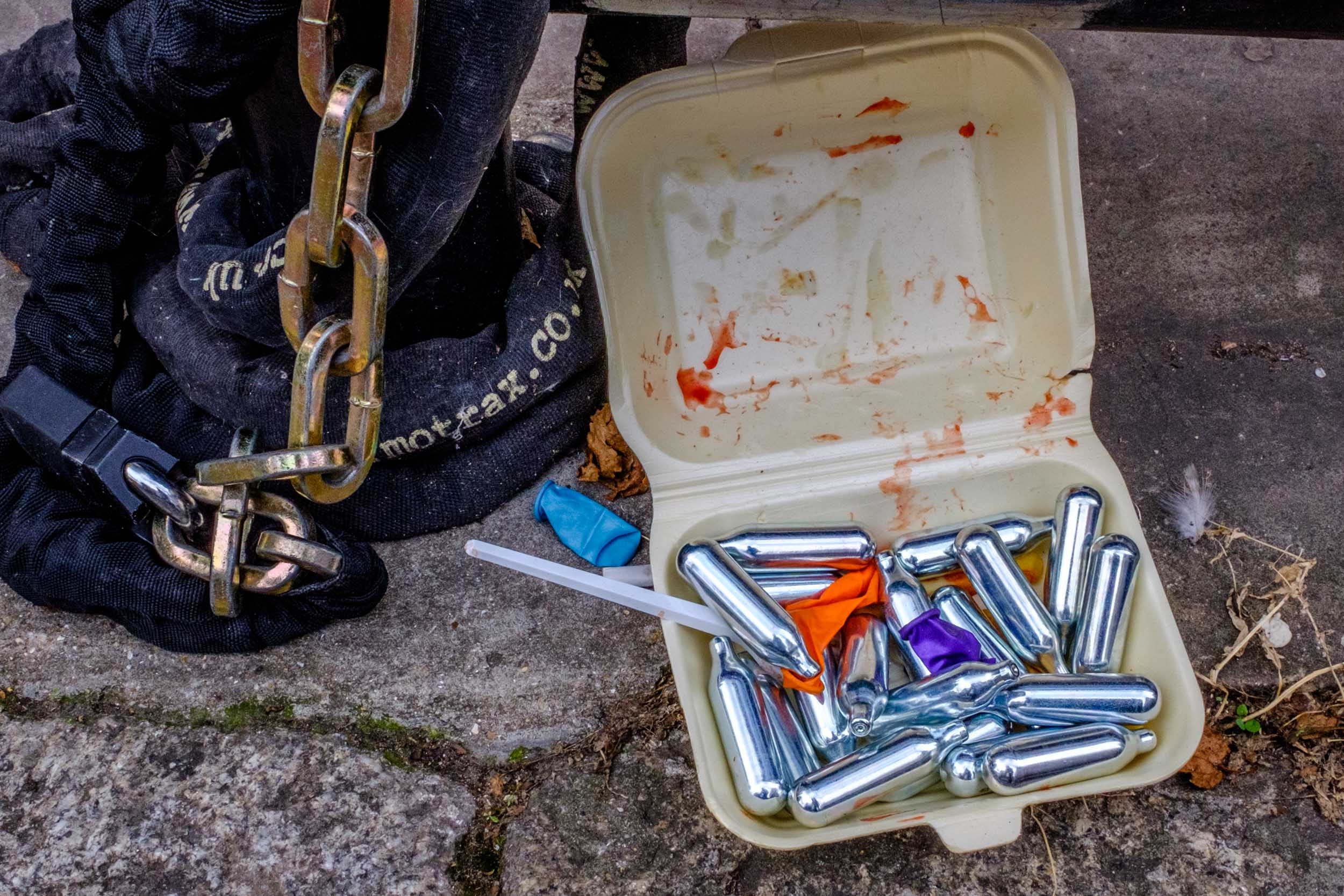 Nitrous Oxide Canisters, Balloons, Plastic Fork, Polystyrene Container. London 2017