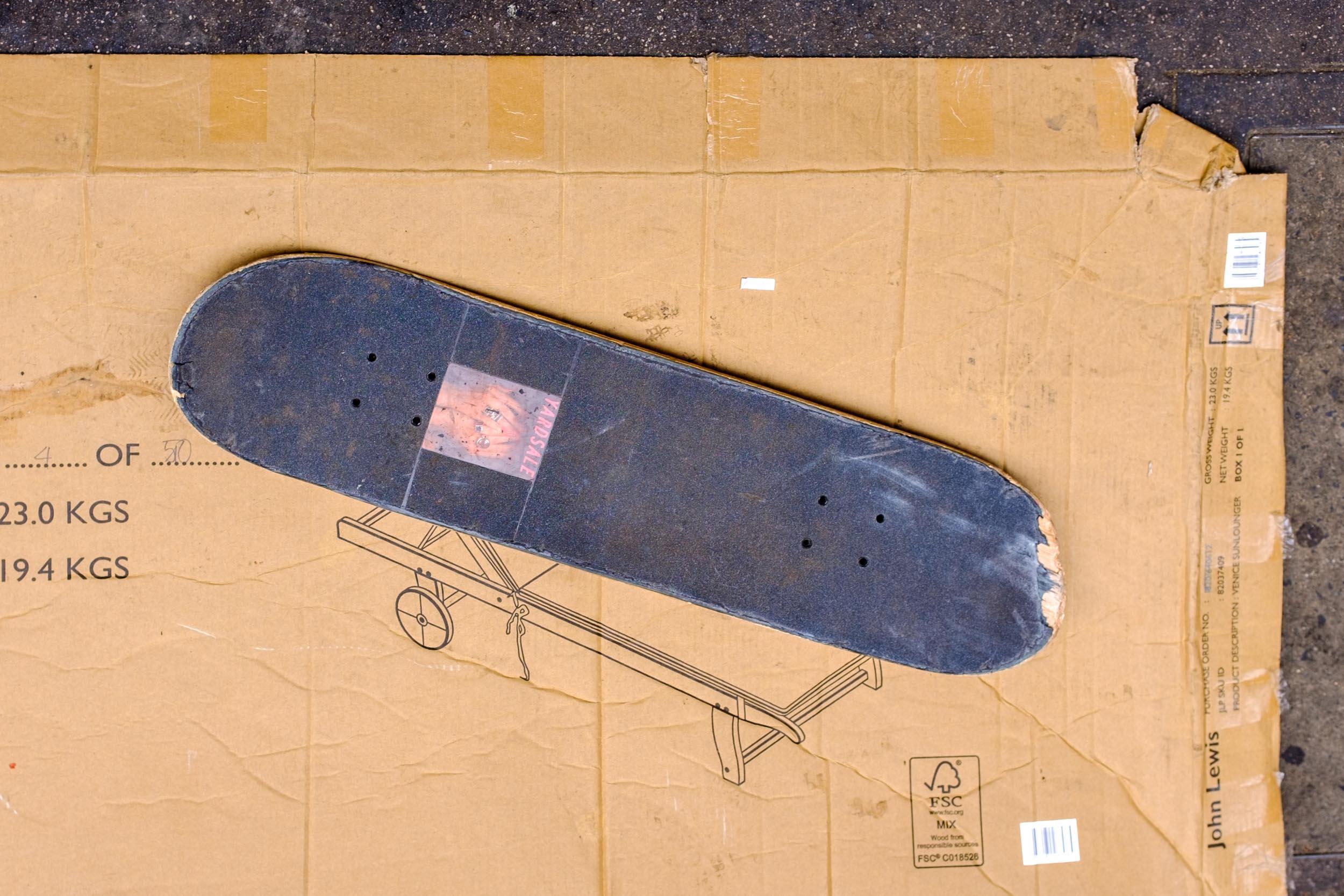 Skateboard and Cardboard Box. London 2017
