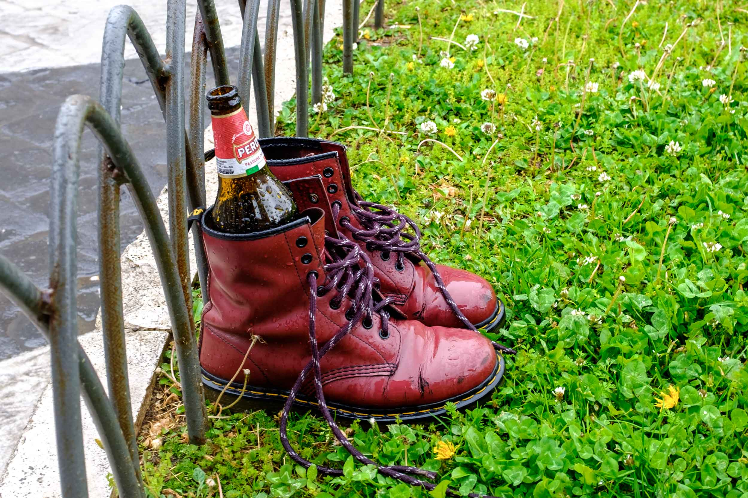 Beer Bottle and Boots. Rome 2019