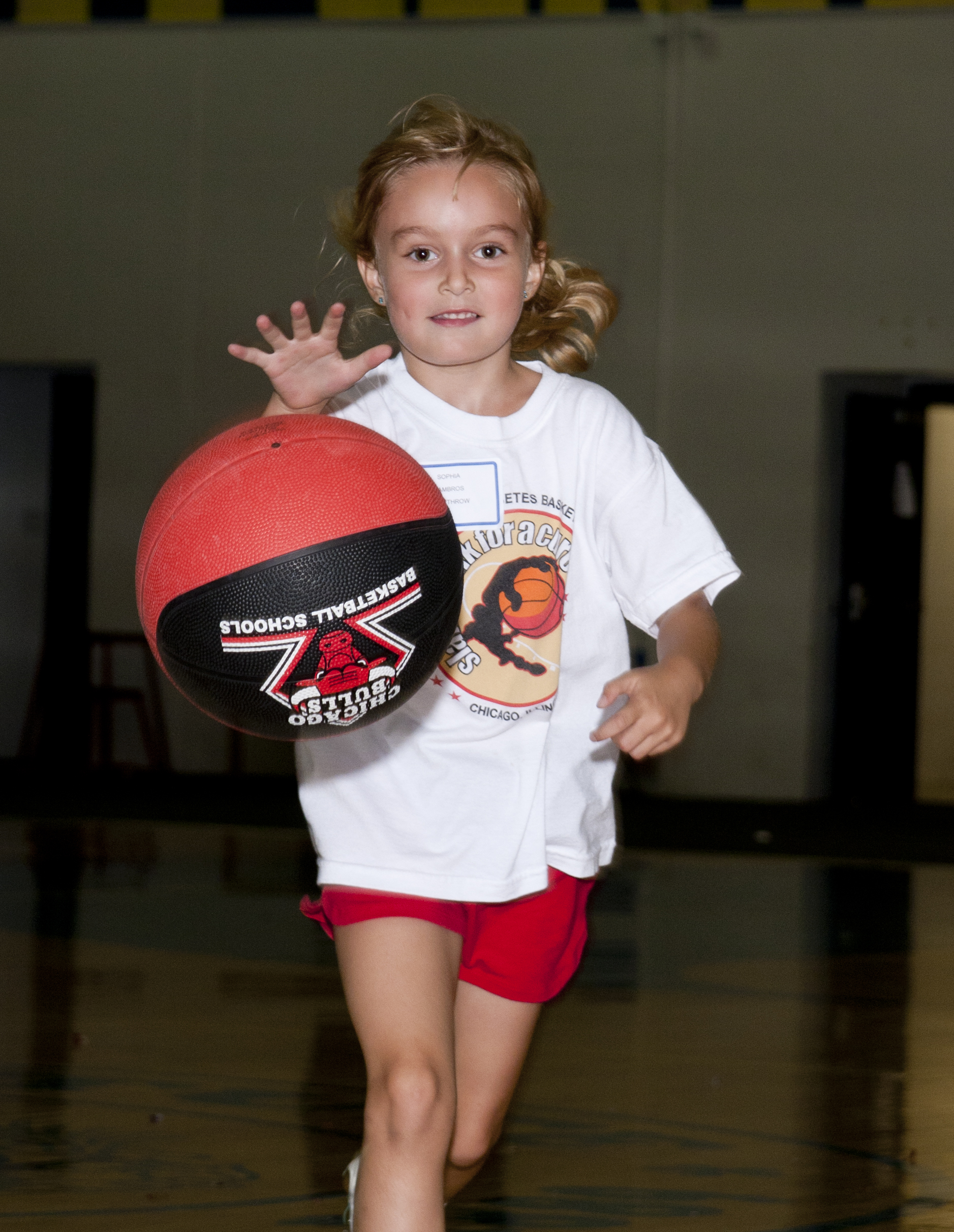 6 year old Sophia at Slam Dunk Camp