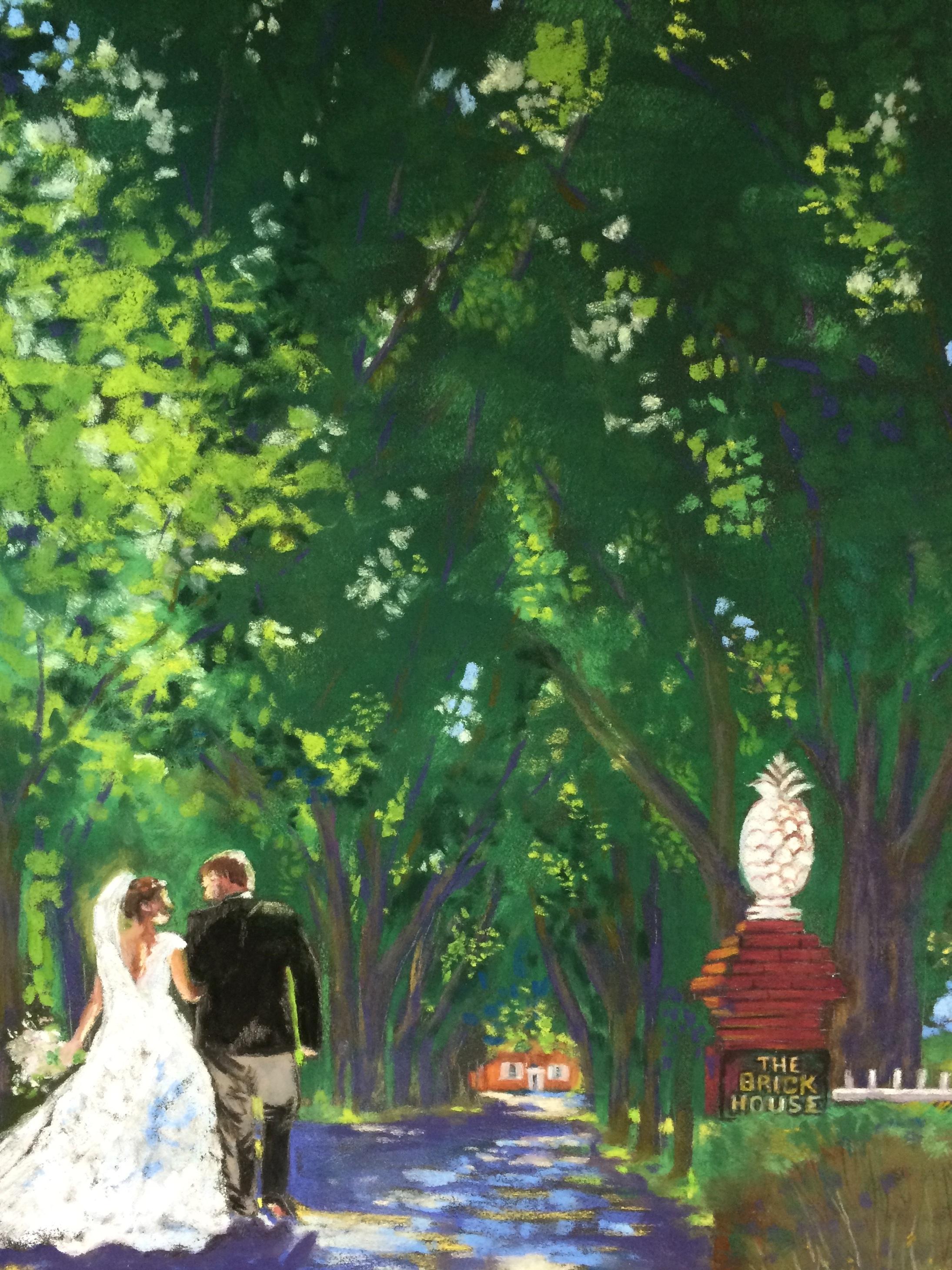 Wedding Walk Under a Canopy of Trees