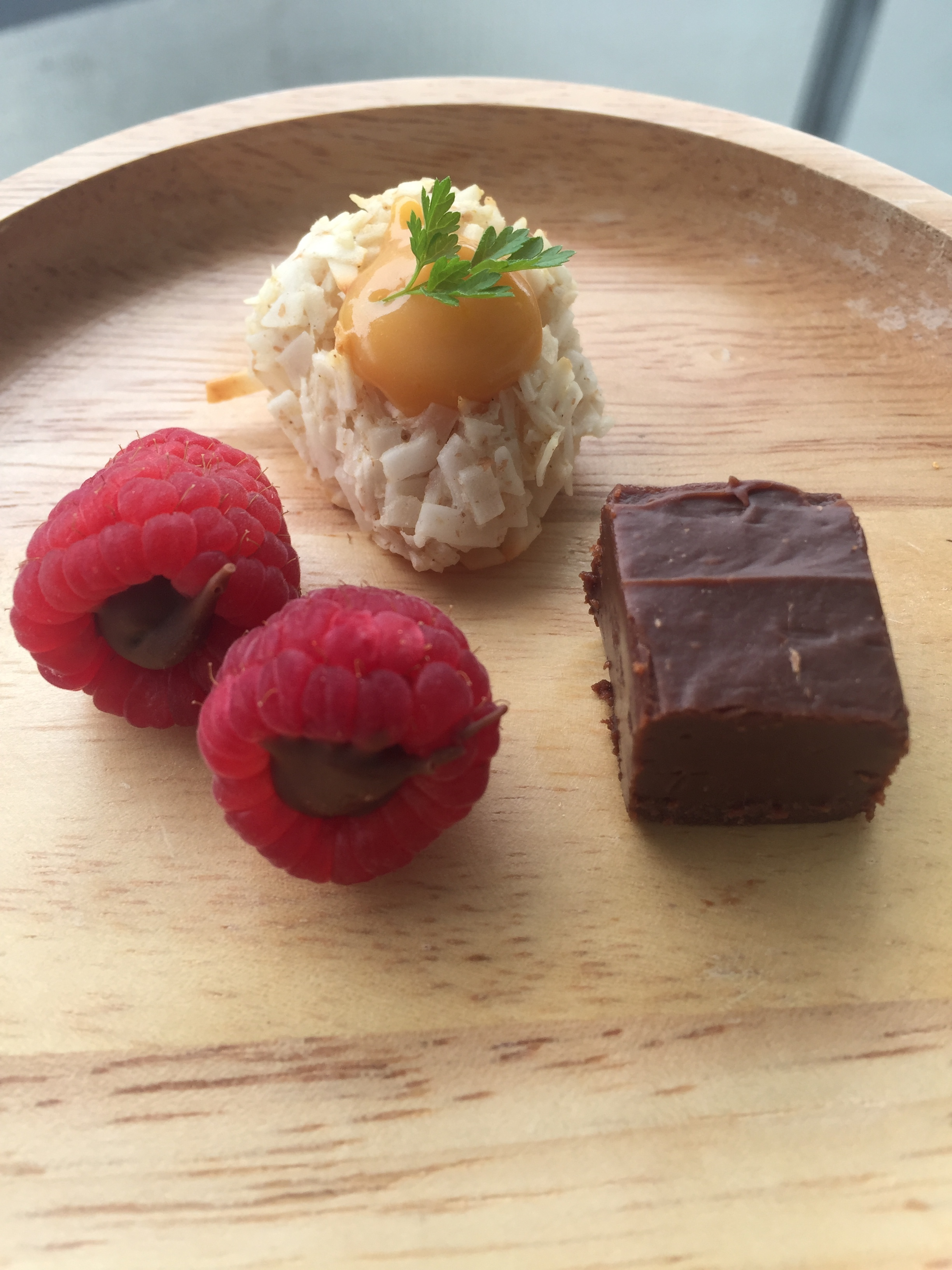 Three mignardises courtesy of Chef Joshna Maharaj.