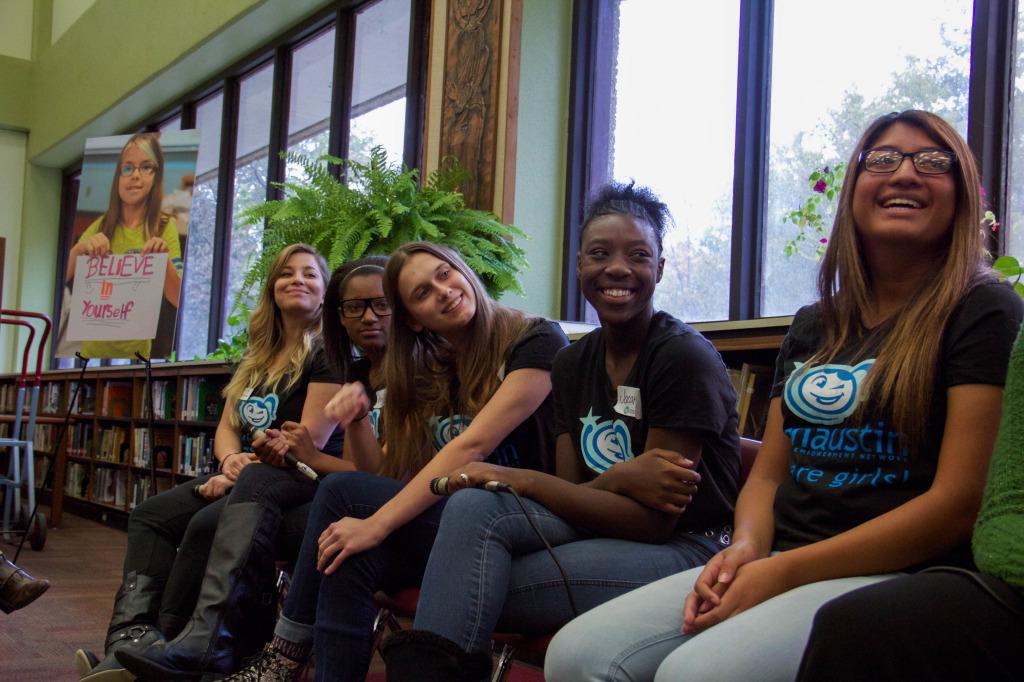 [The Panel participants, from left to right: Claudia Garate (GENaustin Program Coordinator), Keristen (freshmen), Ari (junior), Jacaria (sophomore), and Georgia (senior). Photo courtesy of Alina Tonu.]