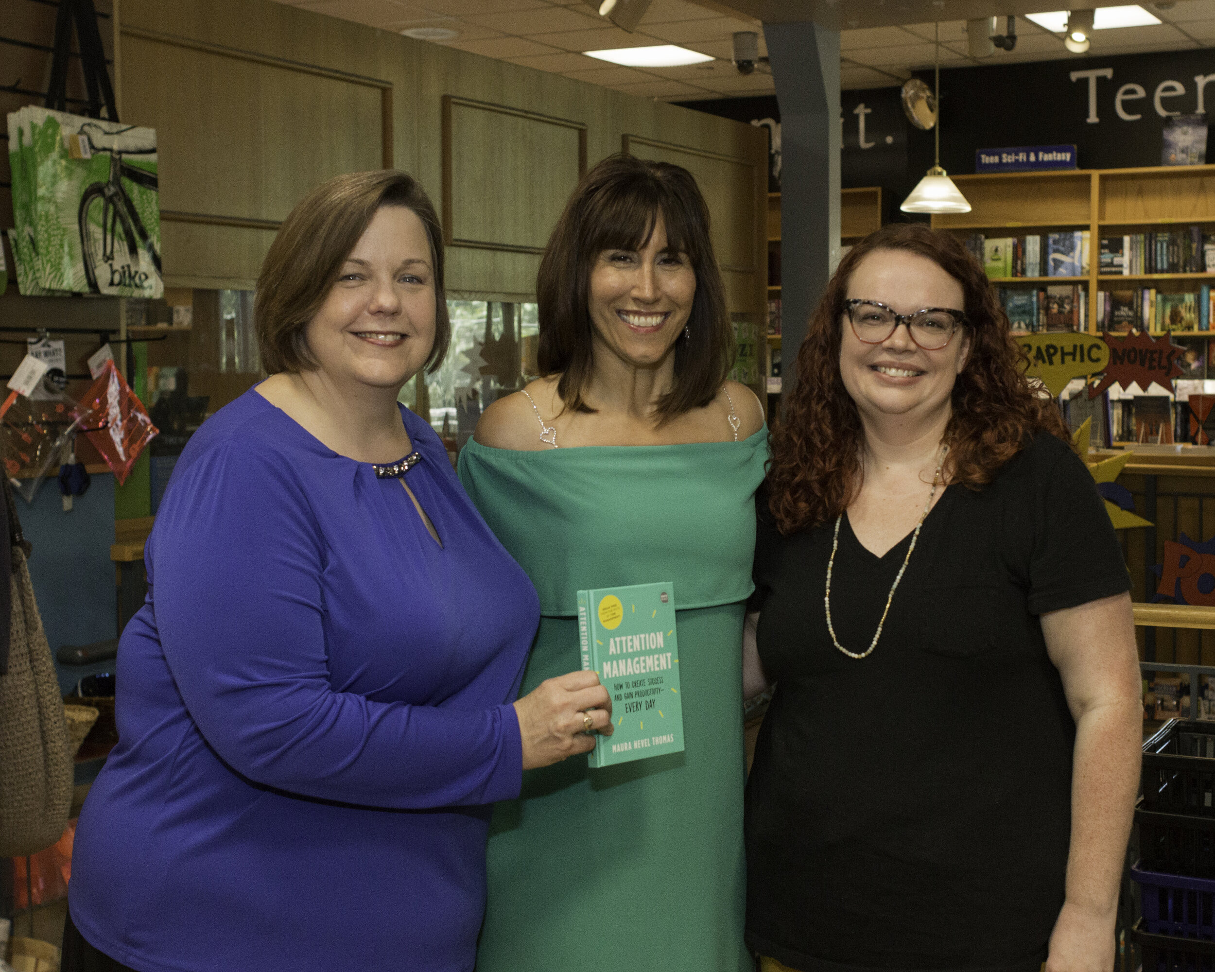 KUT's Jennifer Stayton, Maura Nevel Thomas, and Ami Kane celebrate Maura's new book  ATTENTION MANAGEMENT: How to Create Success and Gain Productivity Every Day  at BookPeople on September 7th. Jennifer and Maura held a book talk in front of a full house, followed by a Q&A and book signing. The success of the book launch created an opportunity to make a donation to Girls Empowerment Network. We are grateful to Maura for this gift, and appreciate her as a former board member who continues to support our programs with her time and talent.