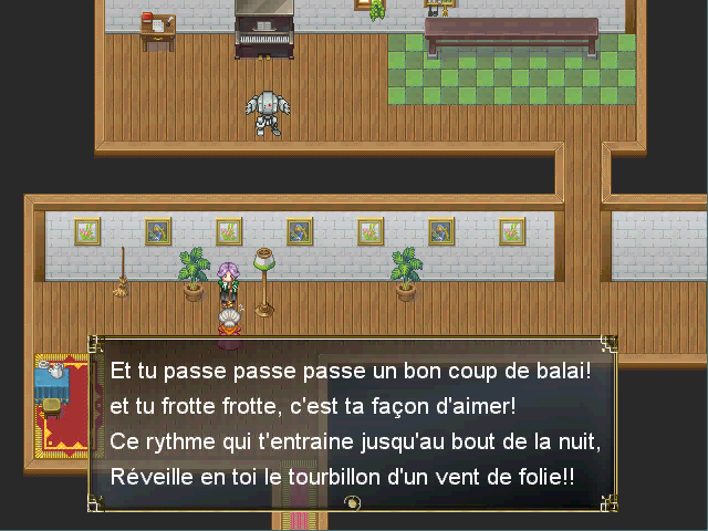 This dialogue is an old French song turned into a broom ballet. In French, the words for broom and ballet are phonetically the same.