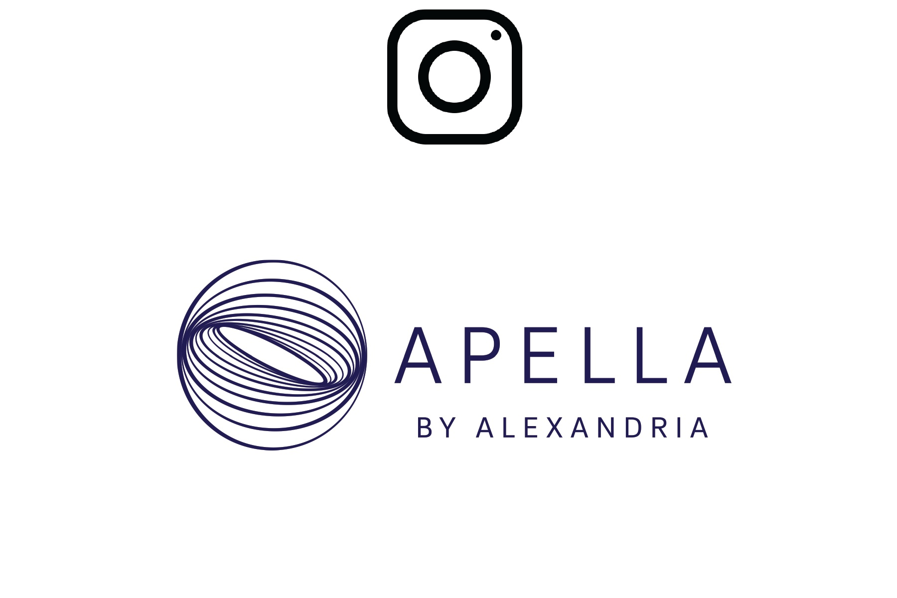 Image of Apella by Alexandria logo with redirect to instagram page when clicked