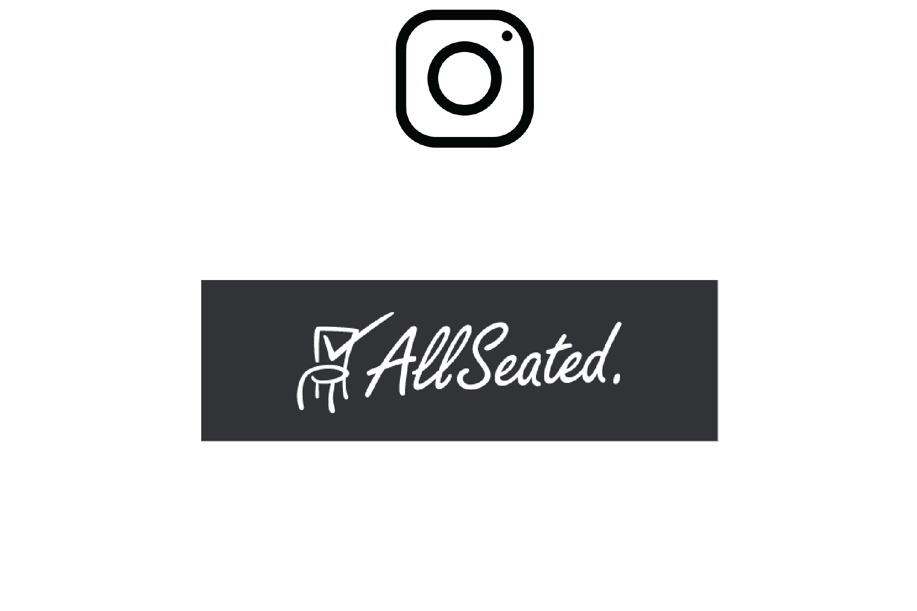 Image of AllSeated logo with redirect to instagram page when clicked