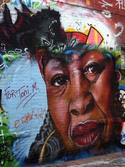 Ernest Shaw Jr memorializes Morrison with this mural in Graffiti Alley in Baltimore, MD.