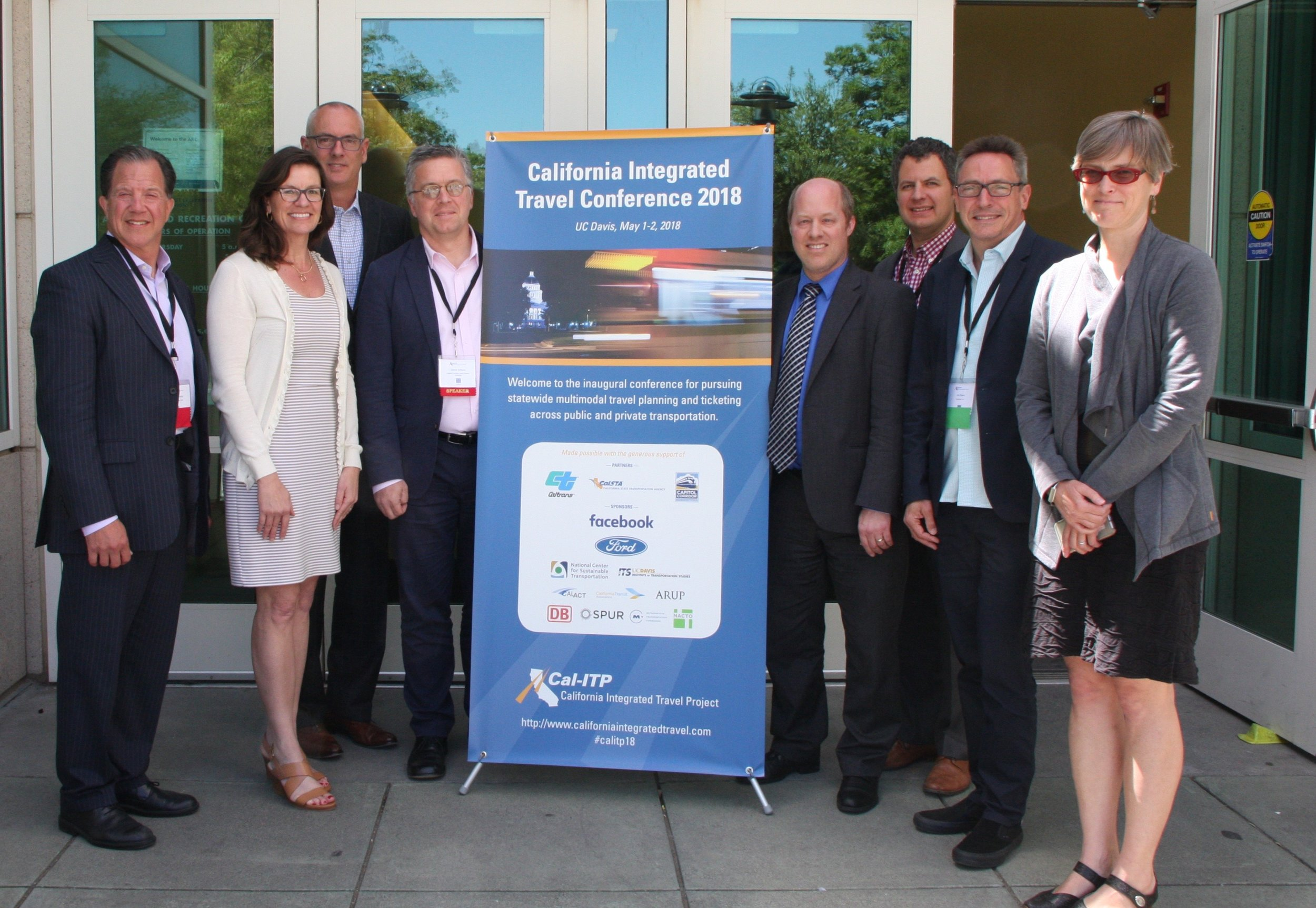 Members of the Cal-ITP Steering & Advisory Committees. (L to R) David Kutrosky, Colleen Richter, Josh Shaw, Jim Allison, Chad Edison, Kyle Gradinger, Jim Baker, and Gillian Gillet.