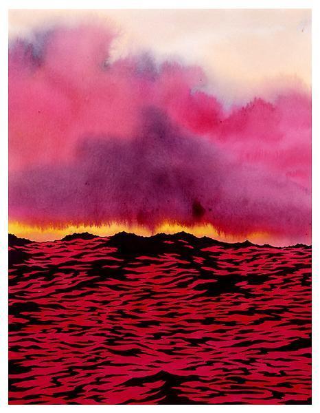 redlipstickresurrected :   Ken Price (American, 1935-2012, b. LA, CA, USA) - Red Water, 2004  Drawings: Ink, Acrylics on Paper
