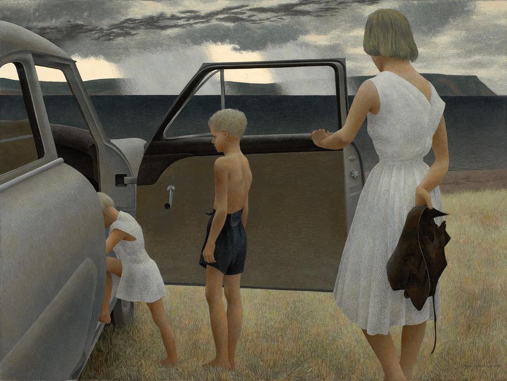 lilacsinthedooryard :    Alex Colville   Family and Rainstrorm 1955