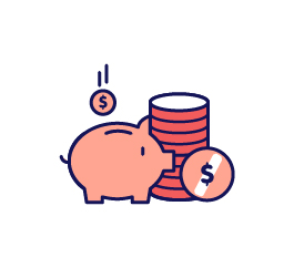 Graphic of piggy bank and coins.