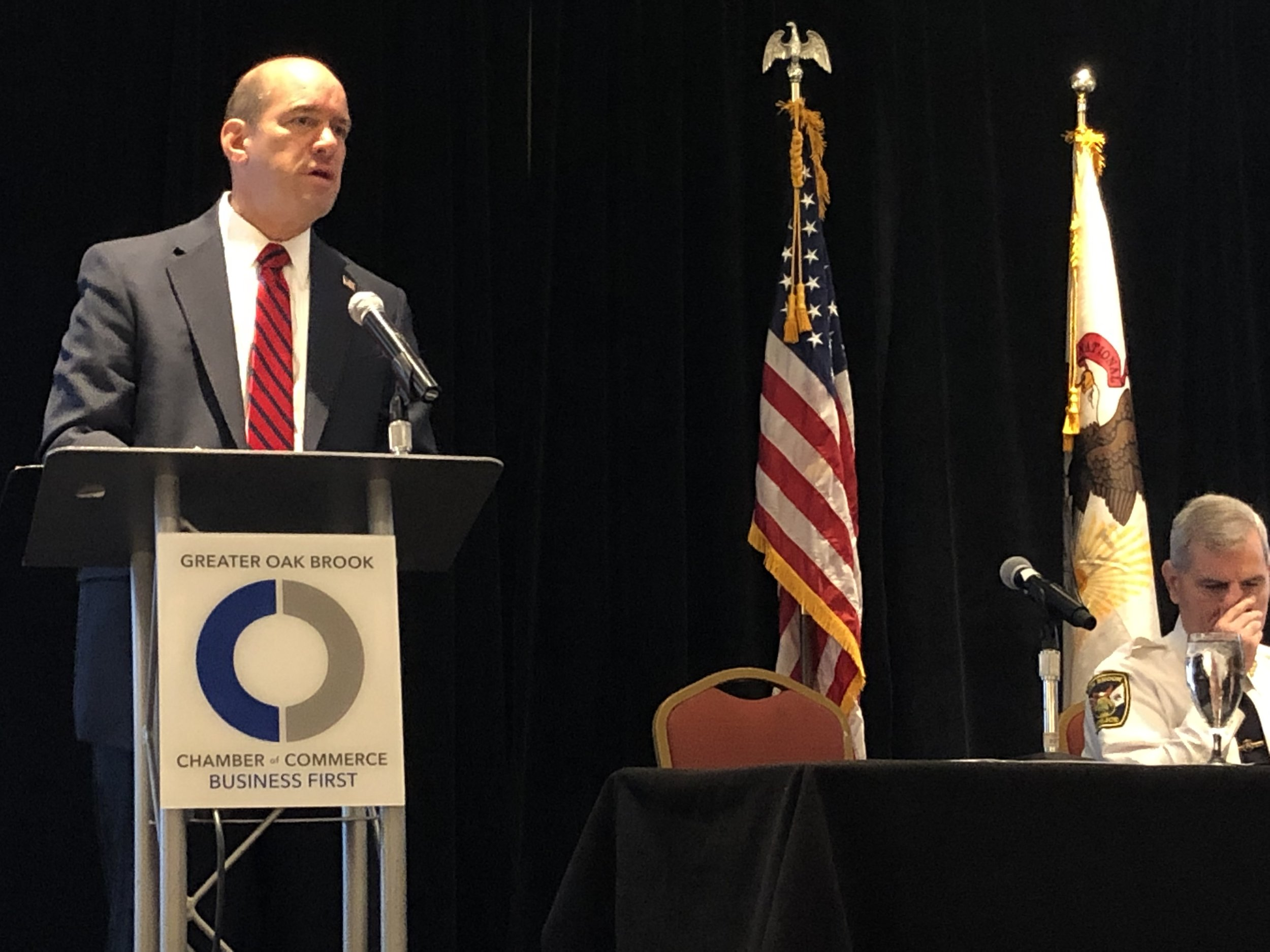 DuPage County State's Attorney Bob Berlin speaks at the Community and Workplace Safety Forum in Oak Brook.