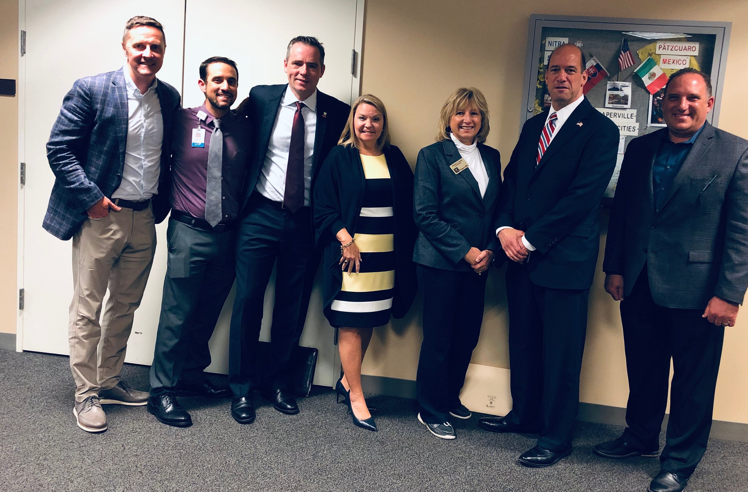 Pictured (L-R): Matthew Quinn - LCPC at Rosecrance; Aaron Weiner - psychologist at Linden Oaks; Kevin Coyne - Naperville City Councilman; Kamala Martinez - Kidsmatter; Patty Gustin - Naperville City Councilwoman; Bob; and Rich Wistocki - retired Naperville Police Detective.