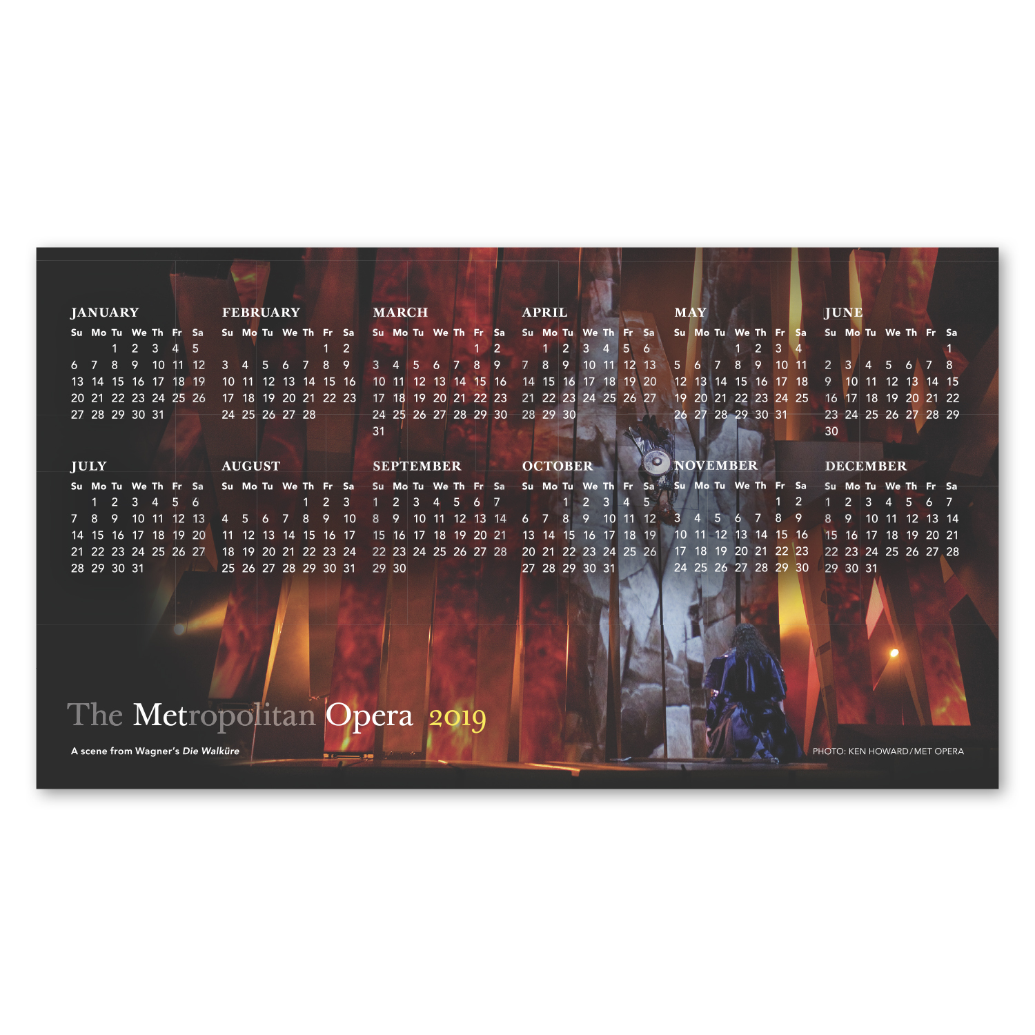 """• MC05 Calendar Magnet, 3.9063"""" x 6.9375"""", .020 thickness  • The Metropolitan Opera has repeated this 125,000 piece calendar magnet order every year since 2012."""