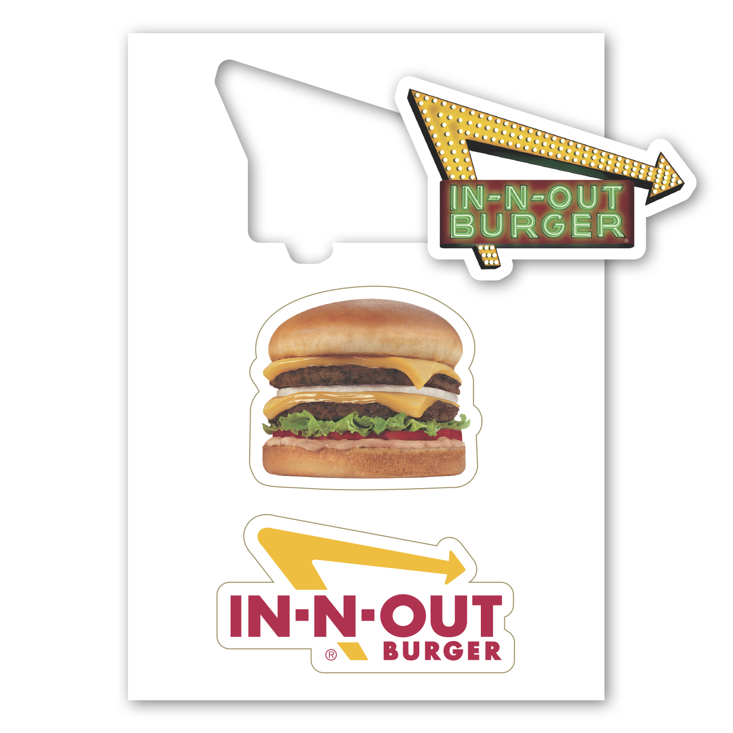 "• Custom Kiss Cut Magnet, 5"" x 7"", .020 thickness  • 5,000 piece order for In-N-Out Burger using a fun magnet with three different punch out magnets for giveaways."