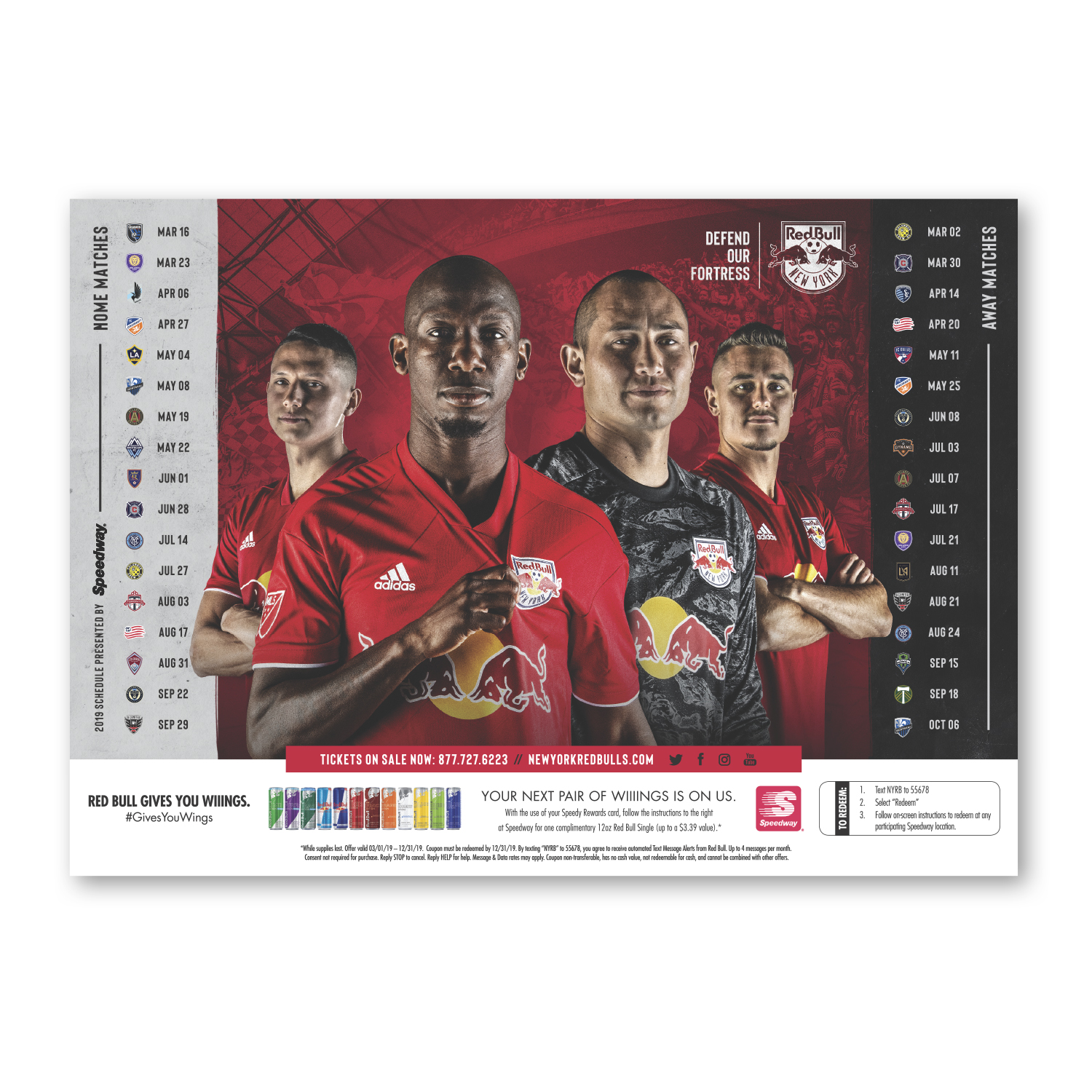 """• S415 Stock Magnet, 5"""" x 7"""", .020 thickness  • Game day giveaway schedule magnet for New York Red Bulls, 20,000 piece order."""