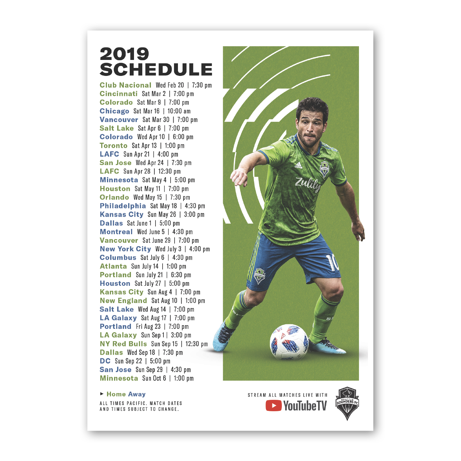 """• S415 Stock Magnet, 5"""" x 7"""", .020 thickness  • Game day giveaway schedule magnet for Seattle Sounders, 20,000 piece order."""