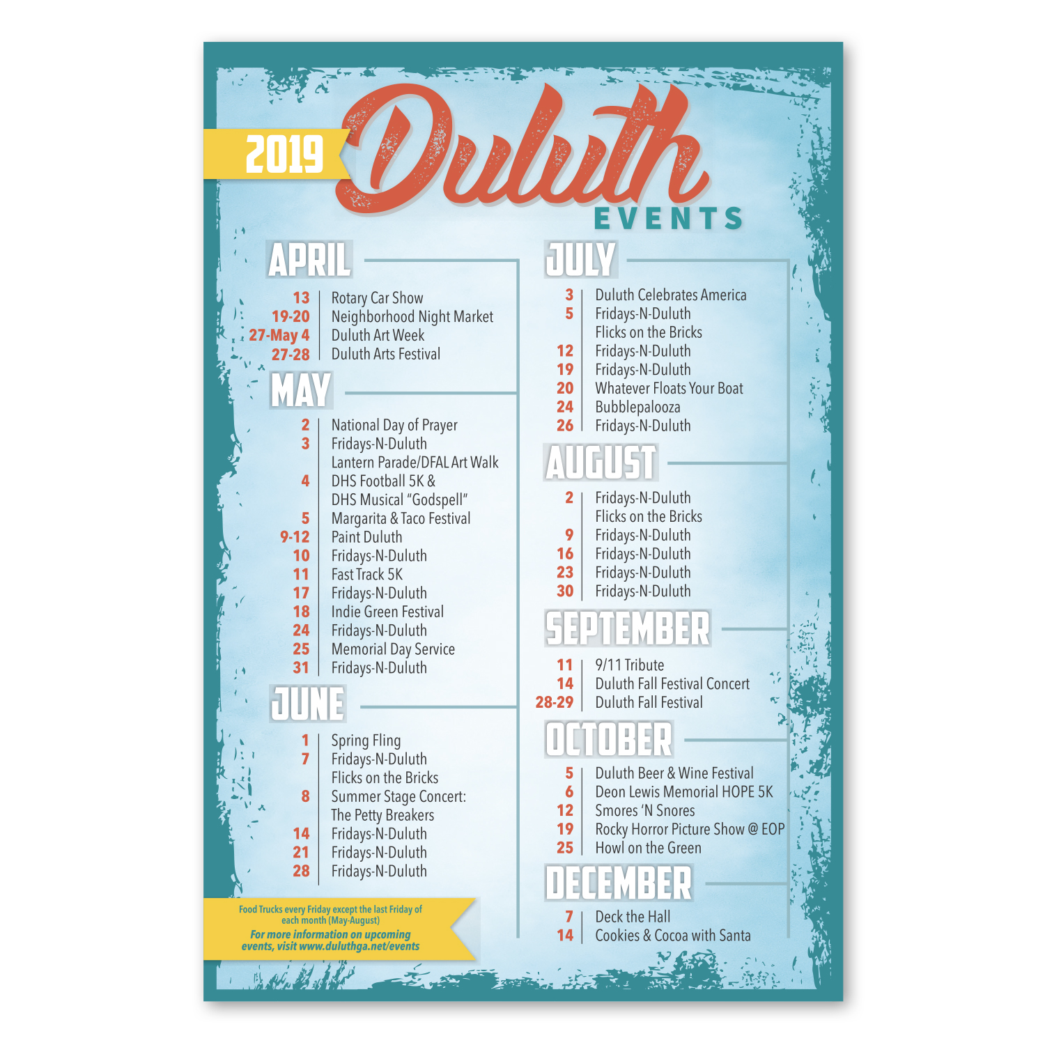 """• CFLRGS Custom Large Square Corners Magnet, 6"""" x 9"""", .020 thickness  • 11,000 piece order for Duluth, GA showing their 2019 events schedule."""