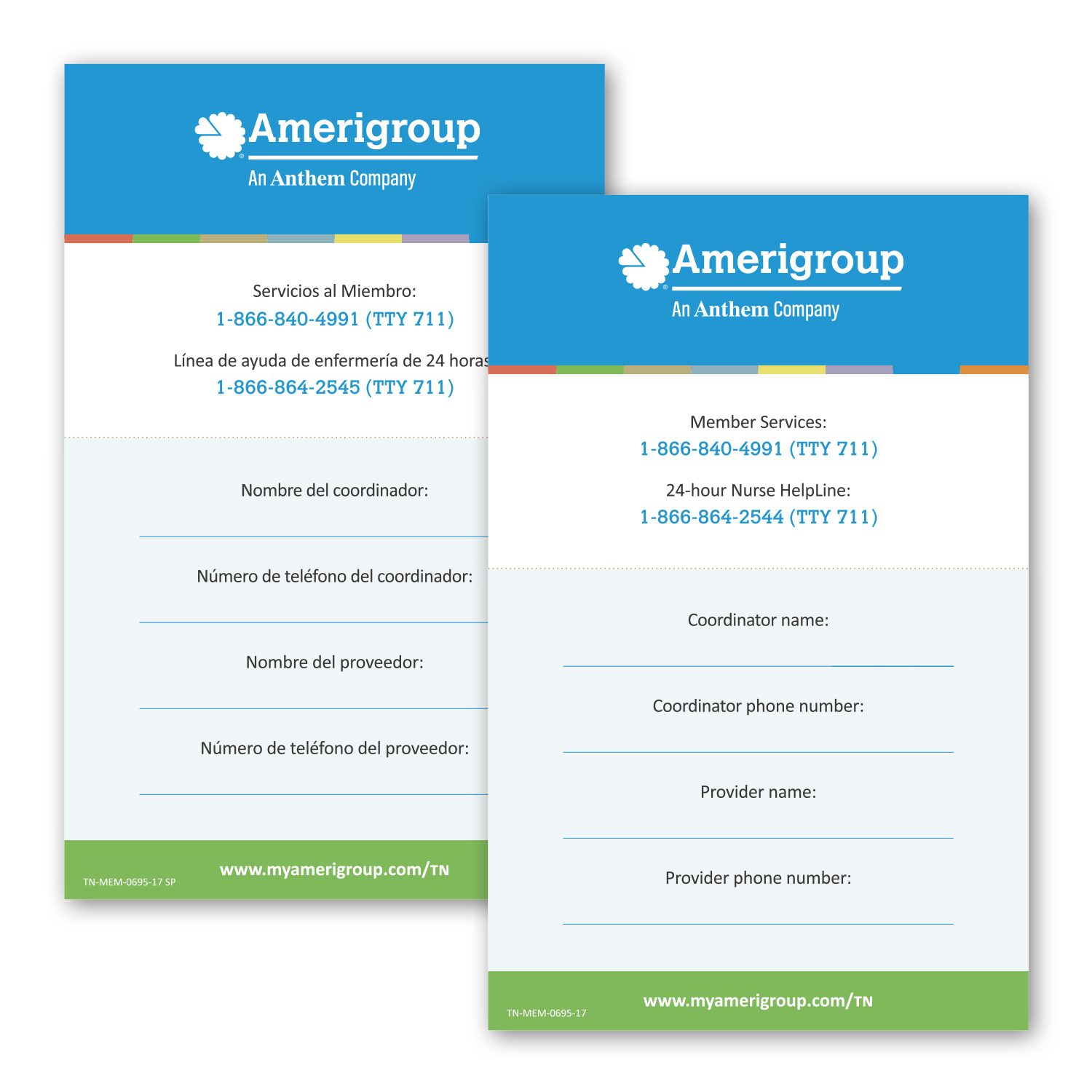 """• TWCST Custom Double-Sided Magnet, 5.5"""" x 8.5"""", .045 thickness  • 6,500 piece order with a write-on area to help keep relevant phone numbers at hand. English version on one side and Spanish version on the other."""