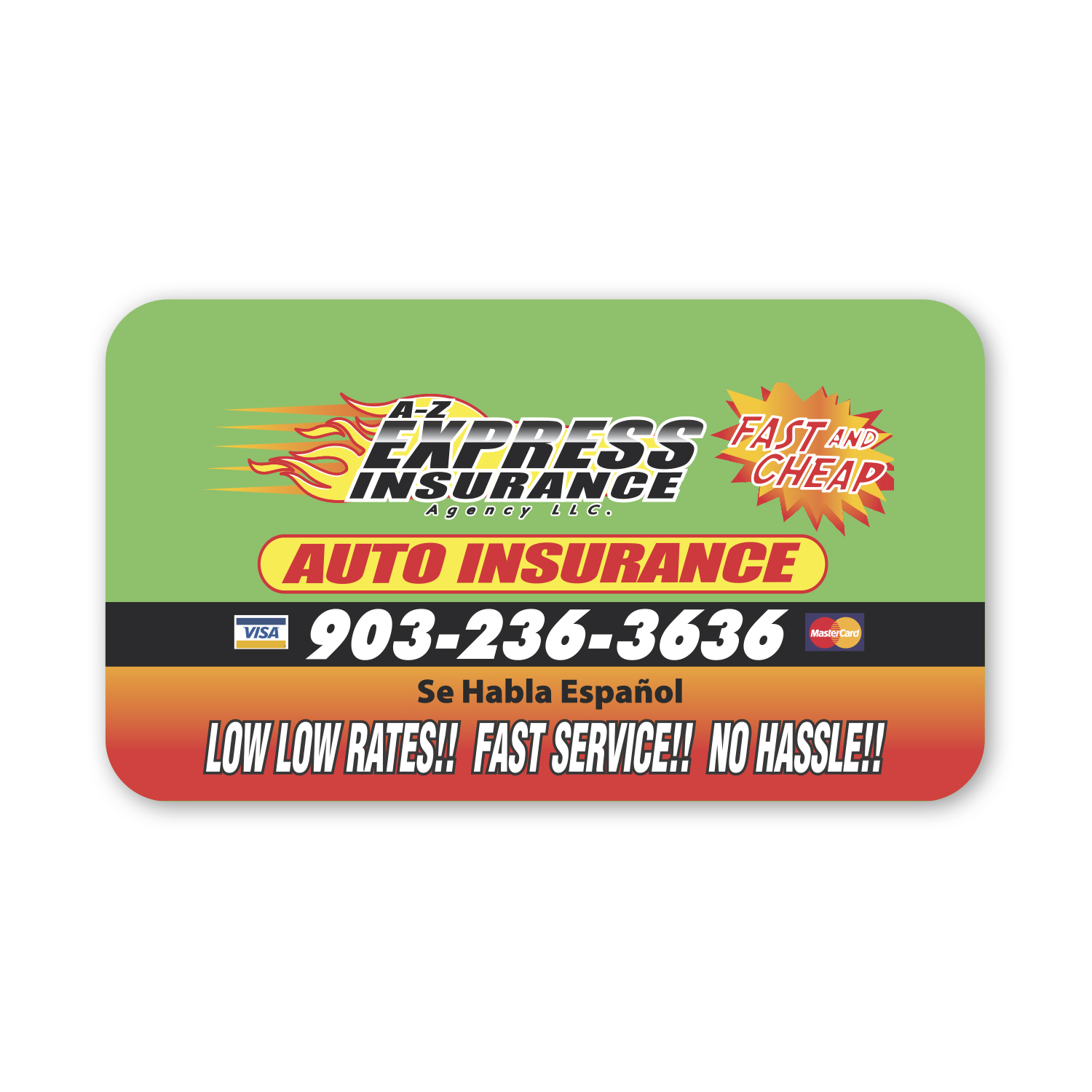 """• BCR Round Corner Business Card Magnet, 3.5"""" X 2 """", .020 thickness  • 2500 piece repeat order that was mailed to potential clients."""