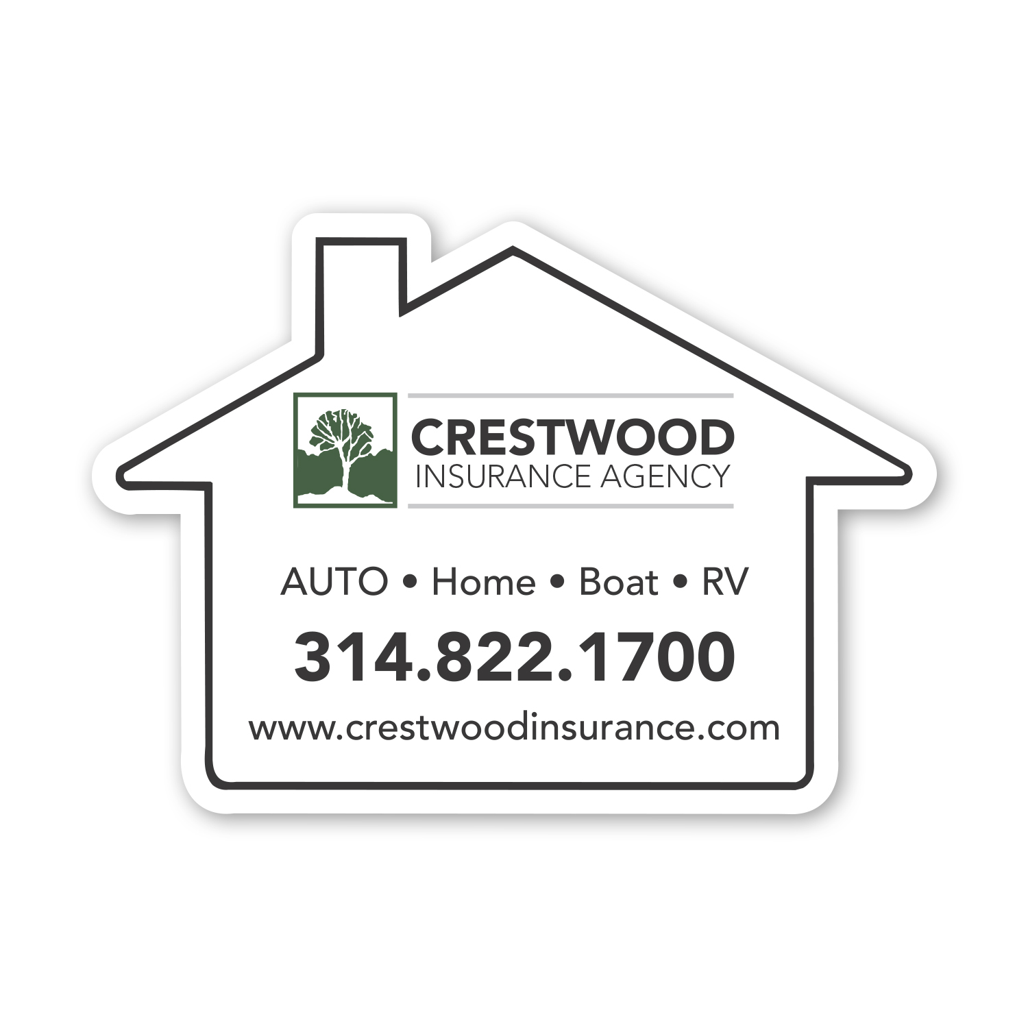 """• S126B House Magnet, 2.4375"""" X 3.4375"""", .020 thickness  • 2500 piece order was used to insert with invoice statements and mailed to clients."""