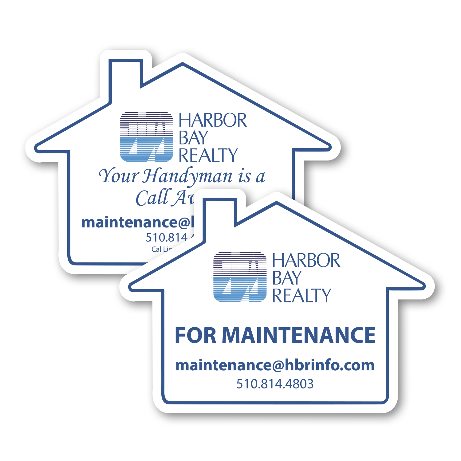 "• S126B Large House Magnet, 3.4375"" x 2.4375"", .020 thickness  • House shaped magnets with maintenance information for the property."